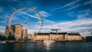 London Eye and architectural buildings